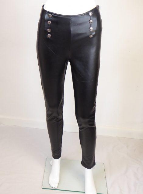 Black PVC Button Leggings