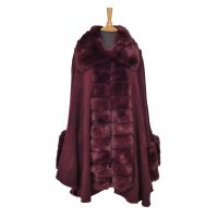 Burgundy Faux Fur Cape