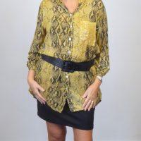 Mustard Snakeskin Print Chiffon Shirts