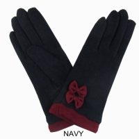Navy Wool Blend Gloves