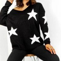 Black Star V Neck Jumper