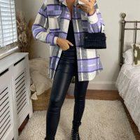 Purple Oversized Check Shacket