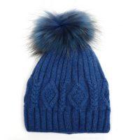 Blue Knitted Fur Pompom Hat