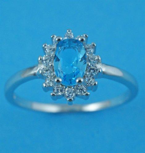 925 Silver Aqua CZ Ring