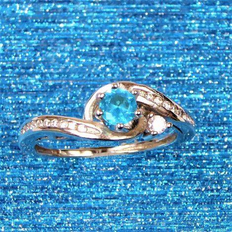 925 Silver Aqua Swirl Ring