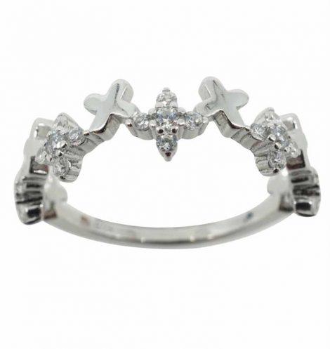 925 Silver CZ Criss Cross Ring