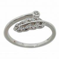 925 Silver CZ Leaf Ring