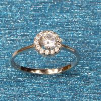 925 Silver CZ Round Ring