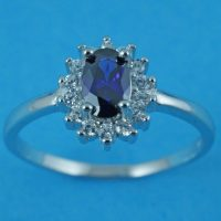 925 Silver CZ Sapphire Ring