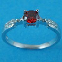 925 Silver Garnet CZ Ring