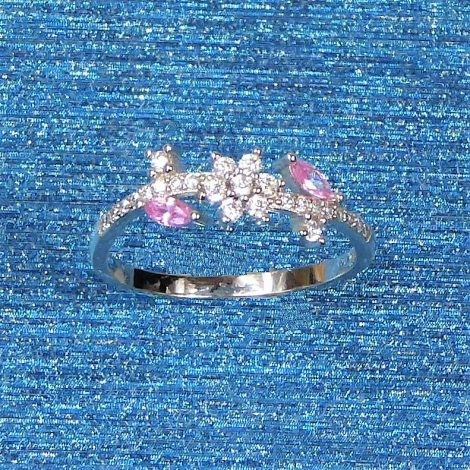 925 Silver Pink Clear Ring