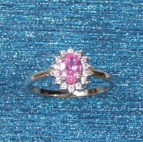 925 Silver Rose CZ Ring