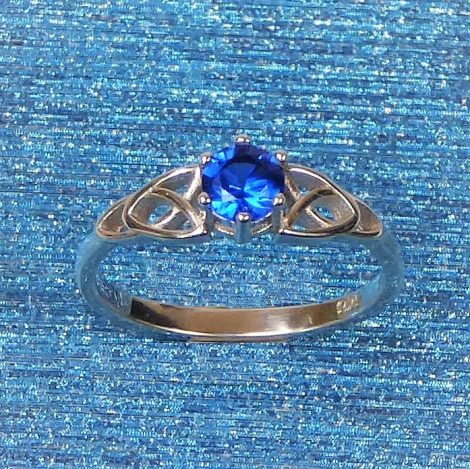 925 Silver Sapphire Celtic Ring
