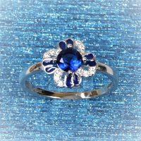 925 Silver Sapphire Enamel Ring
