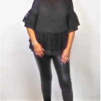 Black Frilly Bardot Top