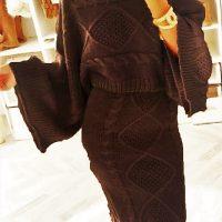 Burgundy Knitted 2 Piece Dress