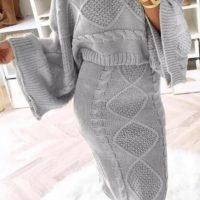 Grey Knitted 2 Piece Dress
