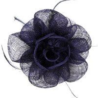 Navy Sinamay Flower Fascinator