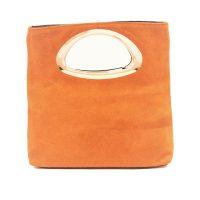 Light Terracotta Suede Clutch Bag