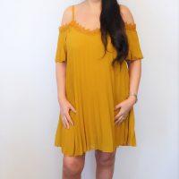 Mustard Cold Shoulder Dress