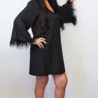 Black Feather Tunic Dress
