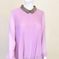Lilac Beaded Collar Blouse