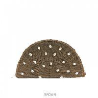 Brown Shell Straw Clutch Bag