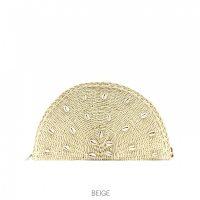 Beige Shell Straw Clutch Bag