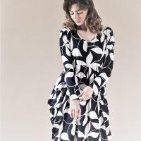 Black Textured Floral Magic Dress