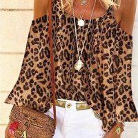 Orange Leopard Cold Shoulder Top