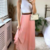 Peach Pleated Maxi Skirt