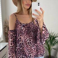 Pink Leopard Cold Shoulder Top