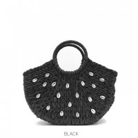 Black Shell Straw Bag with Round Handle