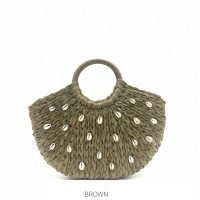 Brown Shell Straw Bag with Round Handle