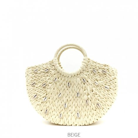 Beige Shell Straw Bag with Round Handle