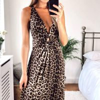 Leopard Print Maxi Dress With Crossover String Back