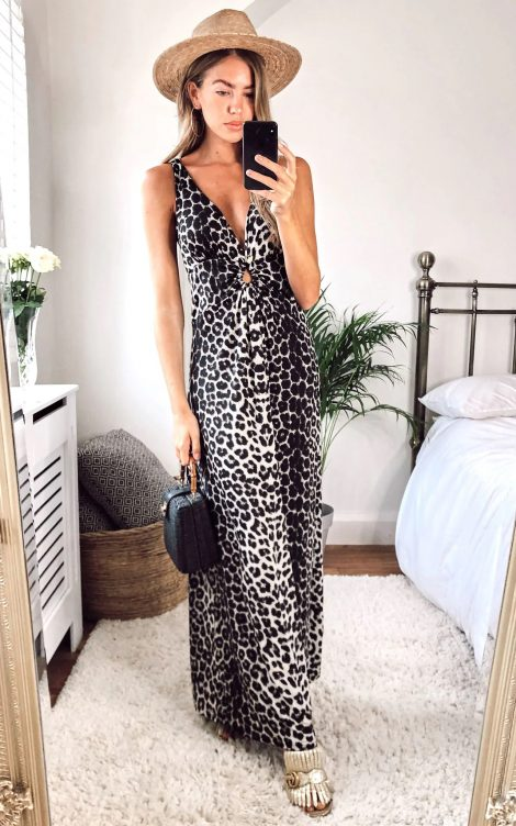 Leopard Maxi Dress With Crossover String Back