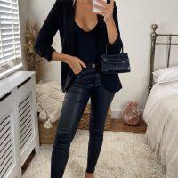 Black Rouched Sleeve Blazer