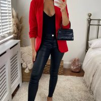 Red Rouched Sleeve Blazer