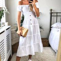 White Bardot Midi Dress
