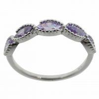 925 Silver Amethyst Band Ring