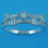 925 Silver Baguette Clear Band Ring