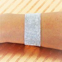 Silver Diamante Wide Bracelet