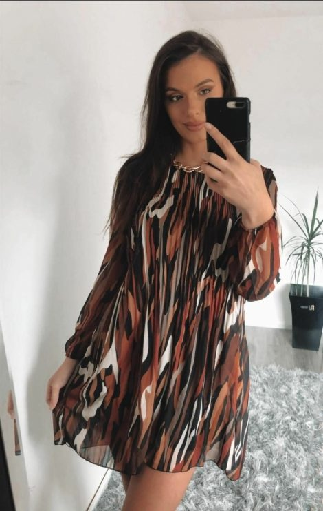Brown Pleated Midi Dress